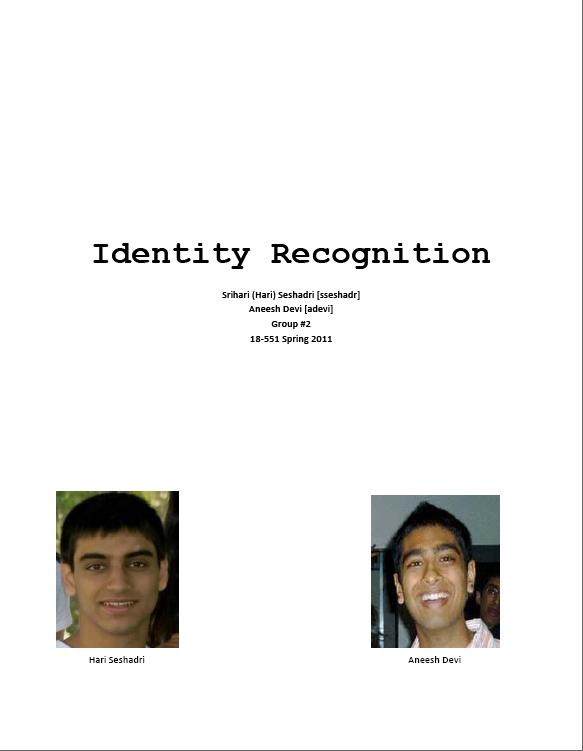 Final Report for Face Recognition Project